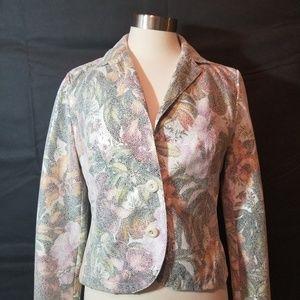 Bagatelle Floral Metallic Blazer Jacket